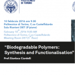 Workshop Announcement – Biodegradable polymers synthesis and functionalisation, 10 February 2016, Turin